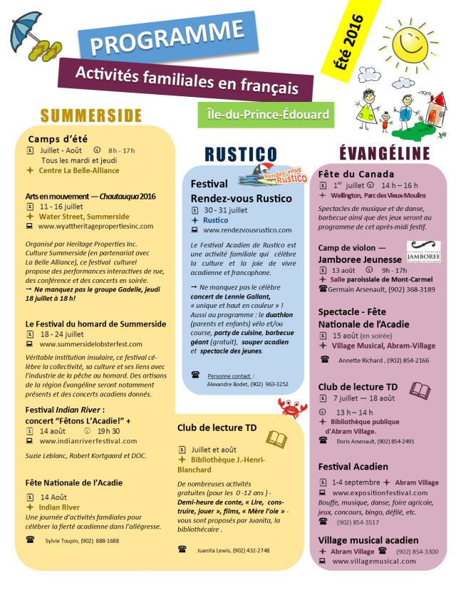 Calendrier d'activités familiales été 2016 IPE Summer activities in french calendar 2016 P1