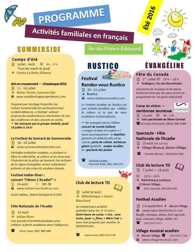 Calendrier d'activités familiales été 2016 IPE   Summer activities in french calendar 2016 P1
