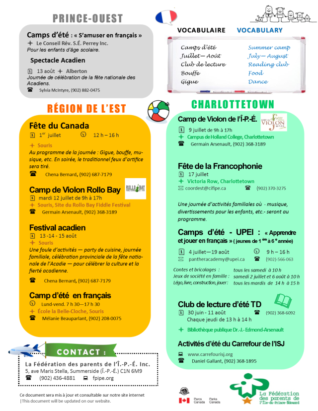 Calendrier d'activités familiales été 2016 IPE   Summer activities in french calendar 2016 P2